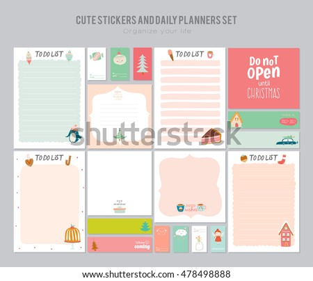 cute daily note template notebook paper stock vector royalty free