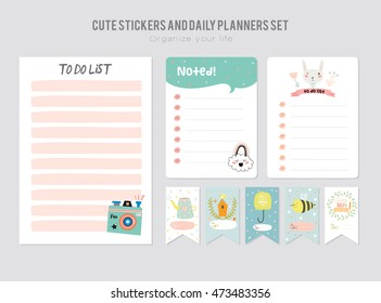 Cute Daily Planner Template. Note Paper and Stickers Set with Funny Illustrations Background. Good for Kids. Organizer and Schedule with place for Notes.