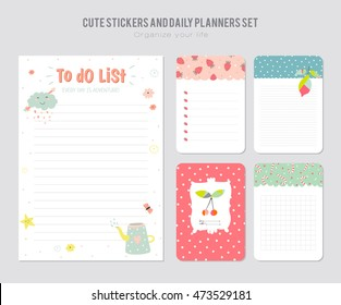 cute calendar daily planner template 2016 stock vector royalty free