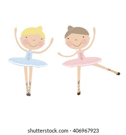 Cute dancing ballerina girls in blue and pink dresses  on white. Vector Illustration with girlfriends in ballet dancers dresses