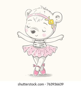 Cute dancing bear ballerina cartoon hand drawn vector illustration. Can be used for t-shirt print, kids wear fashion design, baby shower invitation card.