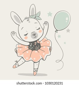 Cute dancing bunny ballerina cartoon hand drawn vector illustration. Can be used for t-shirt print, kids wear fashion design, baby shower invitation card.