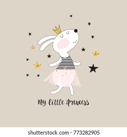 Cute dancing bunny in a pink skirt and inscription - my little princess. Childish illustration in vector.