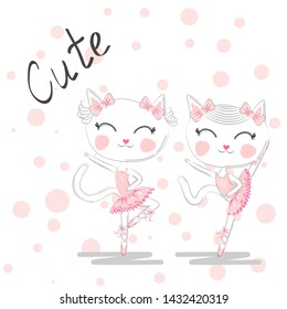 Cute dancing cats in a pink dress. Ballerina love dancing. Hand drawn t-shirt printing.