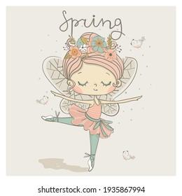 Cute dancing fairy, ballerina girl, dancer. Cartoon hand drawn vector illustration. Can be used for t-shirt print, kids wear fashion design, baby shower invitation card.