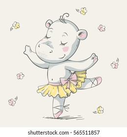 Cute dancing hippo ballerina cartoon hand drawn vector illustration. Can be used for t-shirt print, kids wear fashion design, baby shower invitation card.