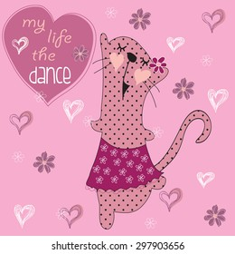 Cute dancing kitten in a skirt with flowers and hearts vector illustration