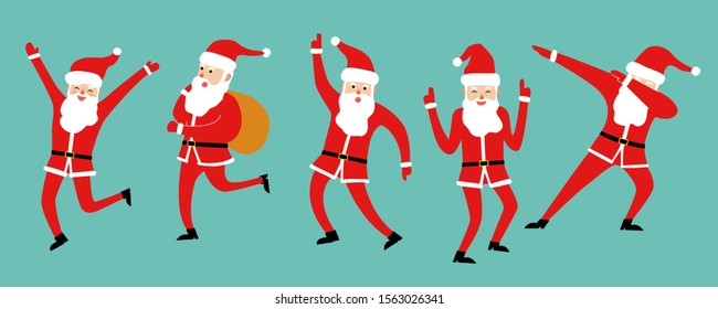 Cute dancing Santa Claus set isolated on blue background