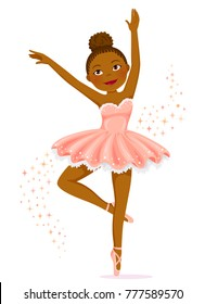 Cute dark skinned ballerina dancing