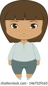Cute dark-skinned, long-haired chibi boy in a tunic shirt and shorts, facing the screen.  Isolated vector drawing on a transparent / white background.