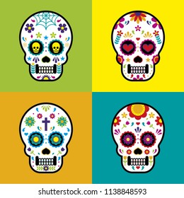 Cute Day of the Dead skulls with various colorful designs.