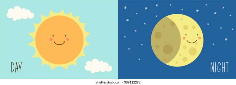 Cute Day and Night with funny smiling cartoon characters of Sun and Moon