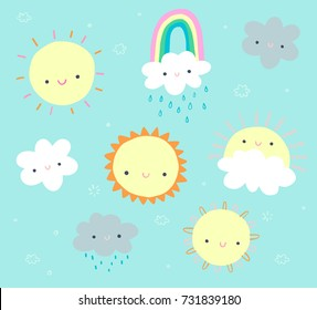 Cute daytime clip art set with sun, clouds, and a rainbow