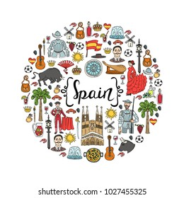 Cute decorative cover with hand drawn colored national symbols white background. Illustration on the theme of Spain. Vector background for use in design