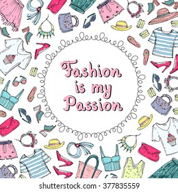 Cute decorative cover with hand drawn colored clothes for women. Illustration on the theme of fashion. Vector background for use in design