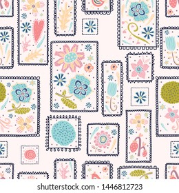 Cute decorative flowers in elegant frames. Vintage vector seamless pattern.  Can be used in textile industry, paper, background, scrapbooking.