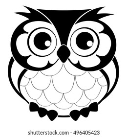 Cute decorative vector owl. Line drawing sketch for T-shirt emblem, logo.