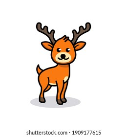Cute deer animal mascot logo