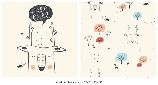Cute deer.  Autumn seamless pattern. Cartoon hand drawn vector illustration. Can be used for t-shirt print, kids wear fashion design, baby shower invitation card. -  with cute deer.