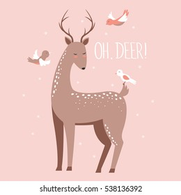 Cute deer with birds. Vector illustration
