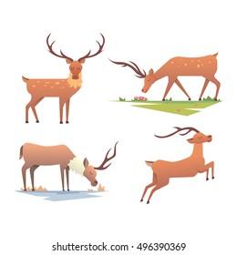 Cute deer cartoon comic wild vector character. Caribou, reindeer character wild animal ren
