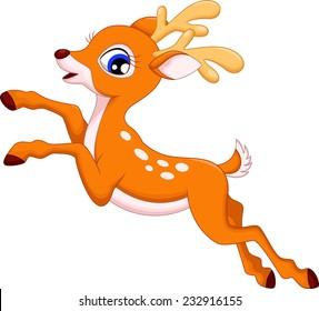 Cute deer cartoon jumping
