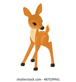 Cute deer cartoon vector illustration isolated on white background