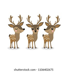 Cute deer cartoon vector set. Wildlife character collection. Forest animal.