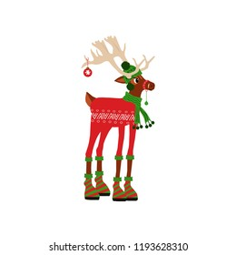 Cute deer  character for merry christmas and new year holiday illustrations. Vector illustration  for winter seasonal greetin card, invitation, children room, nursery decor, t-shirt, banner.