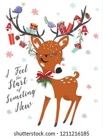 Cute deer for christmas vector illustration for greeting cards, children artworks, prints.