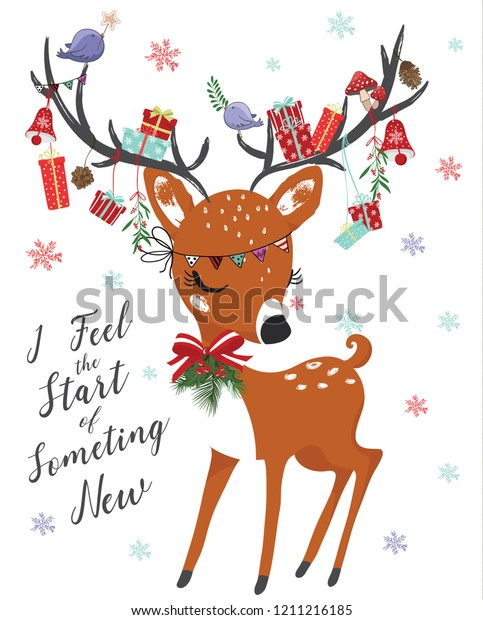 Artworks Christmas Cards.Cute Deer Christmas Vector Illustration Greeting Stock