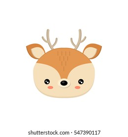 Cute deer face. Vector illustration. Deer baby head isolated on white background. Excellent design of deer.
