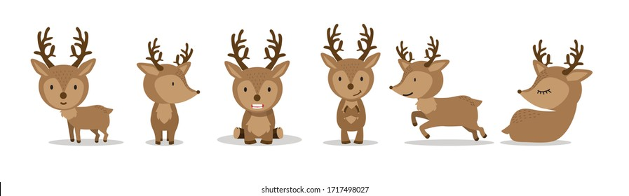 Cute Deer in flat style set on white background