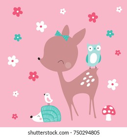 cute deer with hedgehog and birds vector illustration