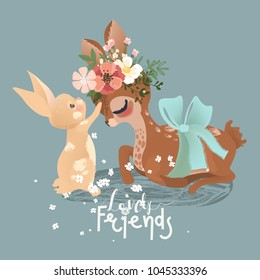 Cute deer and little baby bunny with flowers, floral wreath, bouquet and tied bow