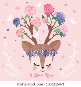 Cute deer portrait drawing, spring flowers and butterflies, invitation and greeting card, birthday card, t-shirt graphic