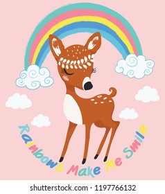 Cute deer with rainbow and clouds vector illustration for kids, fashion artworks, print, wallpapers, children books, t shirt graphics.
