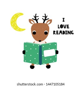 Cute deer reading storybook. Kids graphic with quote. Vector hand drawn illustration.