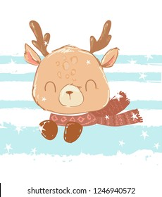 Cute deer with a scarf on a striped background. Children's print for t-shirts. Vector illustration