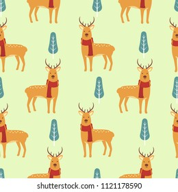 Cute deer seamless pattern background