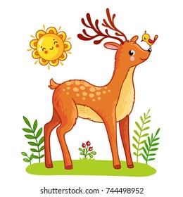Cute deer stands on the meadow. The bird sits on the nose of the animal. Vector illustration in a cartoon style.
