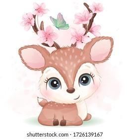Cute deer with watercolor effect
