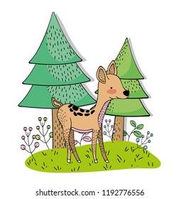 cute deer wild animal with pine trees