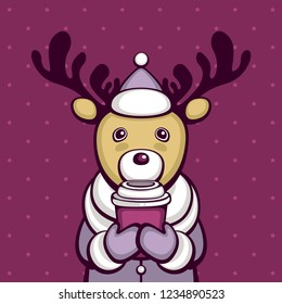 Cute deer in winter clothes with cup of coffee. Funny cartoon character. Template for greeting card and cafe logo.