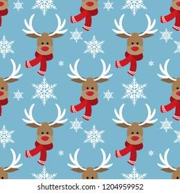 Cute Deer in winter custom and snowflake seamless pattern. Cute Christmas holidays cartoon character background.