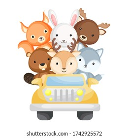 Cute deer, wolf, beaver, moose, squirrel and polar bear travel in car. Graphic element for childrens book, album, scrapbook, postcard. Zoo theme. Flat vector illustration isolated on white background.
