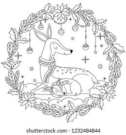 Cute deers sleeping on the snow. Mother deer with baby deer coloring page. Deer coloring book for adults. Vector outline illustration. Christmas card design