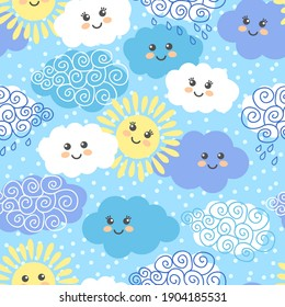 Cute dekorative seamless pattern with suns and clouds