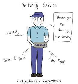 Cute delivery man in blue uniform smiling and holding parcel for sending to recipient. Delivery service concept with thank you note for using their service. Vector illustration with hand-drawn style.