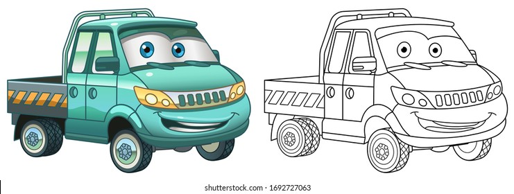 Cute delivery truck. Cargo business van. Coloring page and colorful clipart character. Cartoon design for t shirt print, icon, logo, label, patch or sticker. Vector illustration.